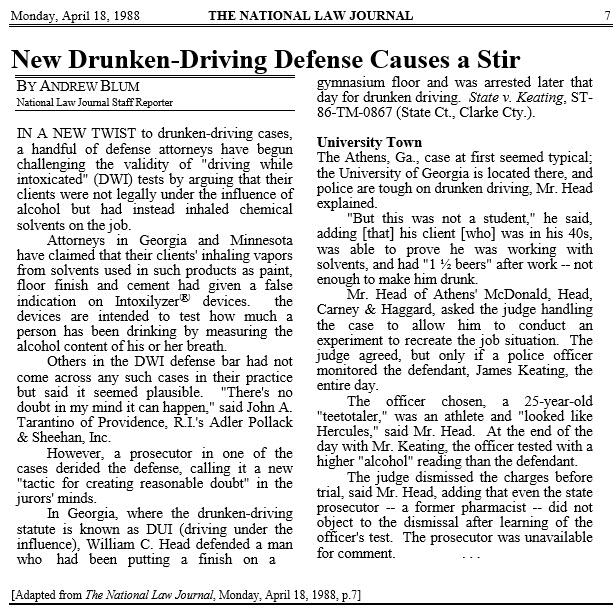 Bubba Head Athens, GA DUI Case Win