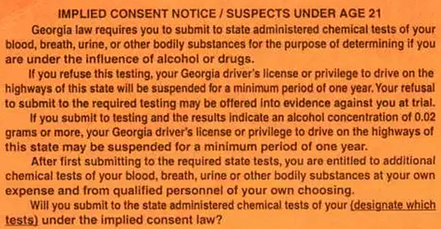 GA Implied Consent Notice Drivers Under 21