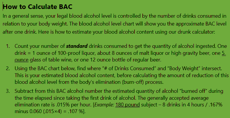 Ga Dui Law And Bac Legal Limit Alcohol Calculator Chart