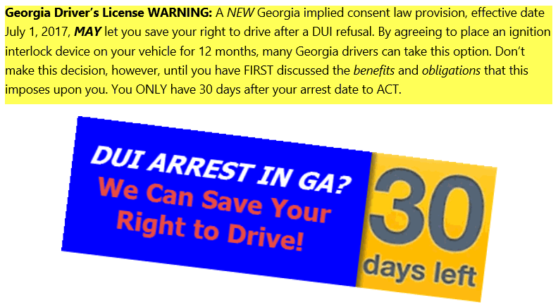 New Georgia Implied Consent Law Provision