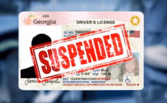 Georgia Drivers' License Suspended