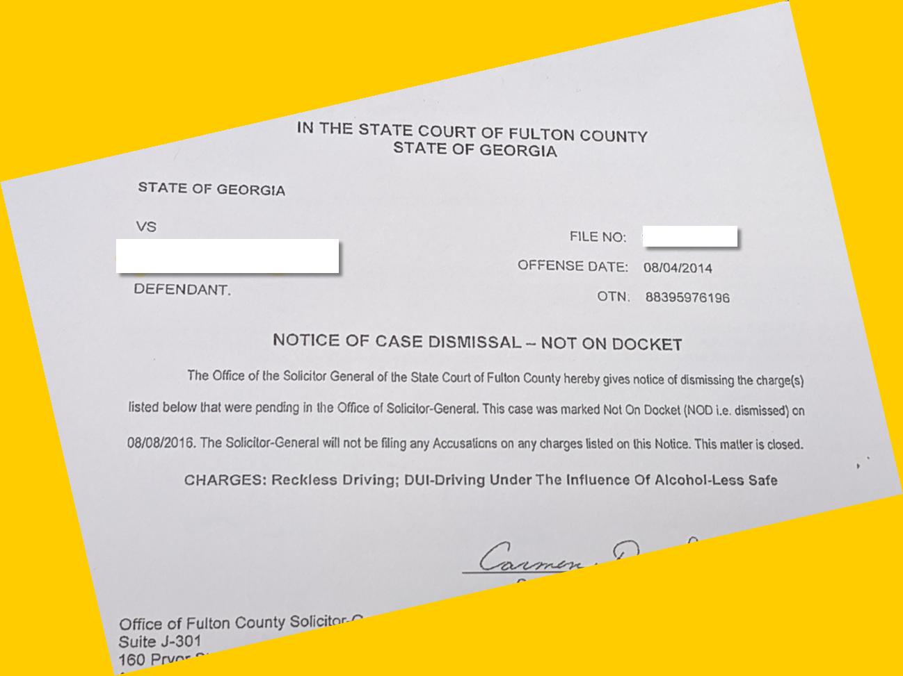 Georgia Notice of Case Dismissal Not on Docket